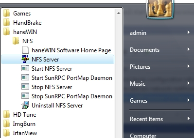 screenshot of start menu hanewin